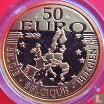 "België 50 euro 2009 (PROOF) ""500 years edition of Erasmus novel - The praise of folly"""