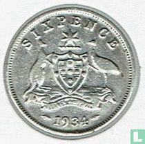 Australië 6 pence 1934