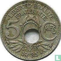 Frankrijk 5 centimes 1935 (misslag)