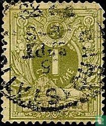 Liegender Löwe mit Wappen