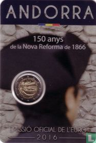 "Andorra 2 euro 2016 (coincard - Govern d'Andorra) ""150 years of the New Reform of 1866"""