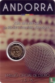 "Andorra 2 euro 2016 (coincard - Govern d'Andorra) ""25th anniversary of Andorran radio and television"""