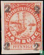 City Post Hamburg Hammonia Hamburg overprint