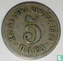 Servië 5 para 1884