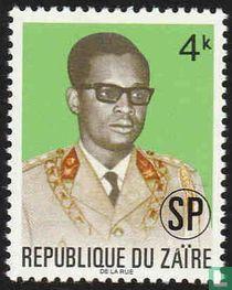Generaal Mobutu met opdruk