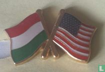Vlaggen Hongarije-USA