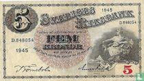 Schweden 5 Kronor 1945