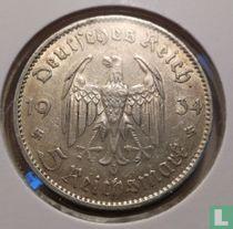 "Duitse Rijk 5 reichsmark 1934 (E - zonder datum) ""1st Anniversary of Nazi Rule - Potsdam Garrison Church"""