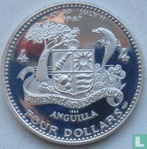 """Anguilla 4 dollars 1969 (PROOF) """"Sailing ship Atlantic Star"""""""