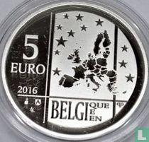 """Belgium 5 euro 2016 (PROOF) """"100th anniversary of the death of Émile Verhaeren"""""""