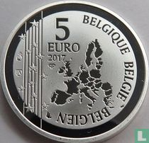 """Belgium 5 euro 2017 (PROOF) """"50th anniversary of the first heart transplant"""""""