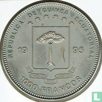 "Äquatorial-Guinea 1000 Franc 1995 ""150th Anniversary of Baseler Taube"""