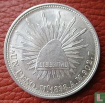 Mexico 1 peso 1898 (Mo AM - restrike 1949 met 134 parels)