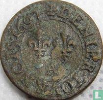 France denier tournois 1607 (A)