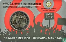 """Belgium 2 euro 2018 (coincard - NLD) """"50 years Student Revolt of May 1968"""""""