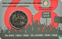 """Belgium 2 euro 2018 (coincard - FRA) """"50 years Student Revolt of May 1968"""""""