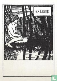 Ex libris Engel langs waterkant
