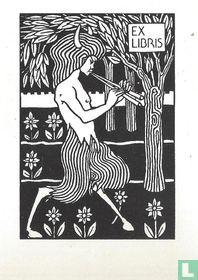 Ex libris Duivel op fluit spelend