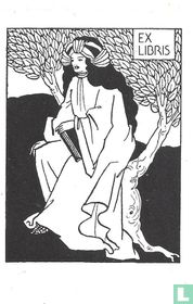 Ex libris Vrouw zittend in boom