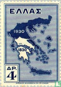 Map of Greece in 1830 and 1930