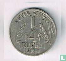 India ¼ rupee 1954 (Calcutta - kleine leeuw)