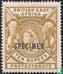 """Queen Victoria met opdruk """"SPECIMEN""""."""