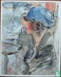 Portret van een vrouw met blauwe hoed