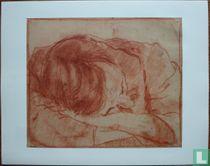 De vader van de schilder slapend met het hoofd op de armen