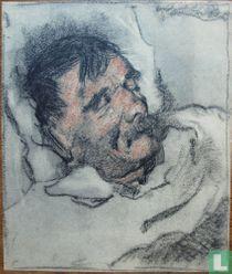 De vader van de schilder slapend in bed