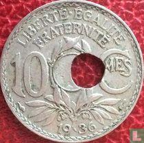 Frankrijk 10 centimes 1936 (misslag)