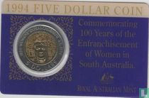 """Australië 5 dollars 1994 (coincard) """"100 Years of the Enfranchisement of Women in South Australia"""""""