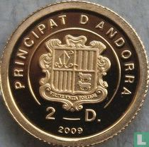 """Andorra 2 diners 2009 (PROOF) """"40th anniversary of the moon landing"""""""