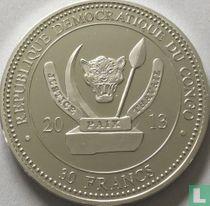 "Congo-Kinshasa 30 francs 2013 (PROOF) ""Magnificent reptiles - Snake"""