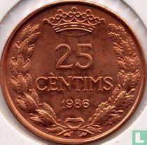 "Andorra 25 cèntims 1986 ""Joan D.M. Bisbe D'Urgell I"""