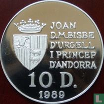 "Andorra 10 diners 1989 (PROOF) ""1992 Winter Olympics in Albertville"""