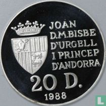 "Andorra 20 diners 1988 (PROOF) ""1992 Winter Olympics in Albertville"""