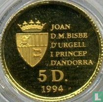 "Andorra 5 diners 1994 (PROOF) ""Red squirrel"""