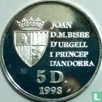 "Andorra 5 diners 1993 (PROOF) ""1994 Winter Olympics in Lillehammer"""