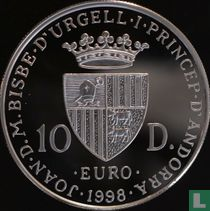 "Andorra 10 diners 1998 (PROOF) ""Europa driving a chariot"""