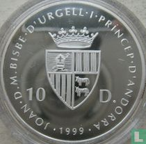 "Andorra 10 diners 1999 (PROOF) ""Ice hockey World Championship in Norway"""