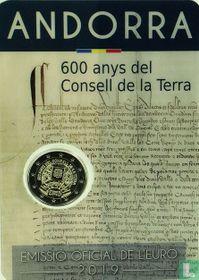 """Andorra 2 euro 2019 (coincard - Govern d'Andorra) """"600 years Consell de la Terra"""""""