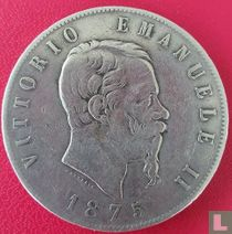 Italië 5 lire 1875 (kleine R)