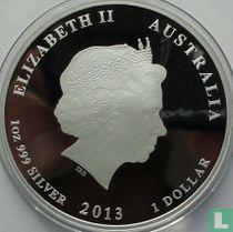 """Australië 1 dollar 2013 (PROOF - gekleurd) """"Year of the Snake"""""""