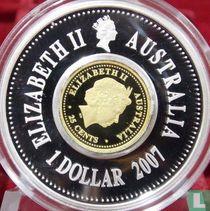 "Australië 1 dollar 2007 (PROOF) ""Lunar holey dollar & Dump"""