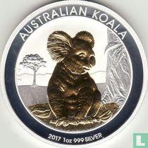 """Australië 1 dollar 2017 (gedeeltelijk verguld) """"Koala"""""""