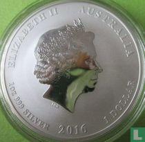"""Australië 1 dollar 2016 (gekleurd - met bos) """"Year of the monkey"""""""