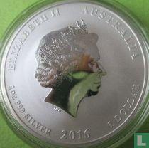 "Australië 1 dollar 2016 (gekleurd - met bergen) ""Year of the monkey"""