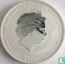 """Australië 1 dollar 2015 (kleurloos - met privy merk) """"Year of the Goat"""""""