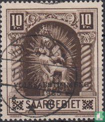 Madonna van Blieskastel mit Aufdruck VOLKSABSTIMMUNG 1935