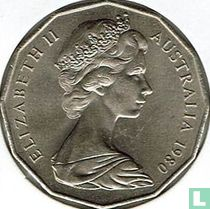 Australia 50 cents 1980 (with bars behind emu)